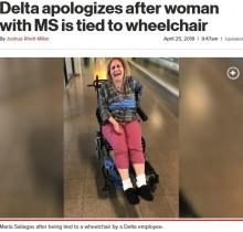 【海外発!Breaking News】障がい者女性を車椅子に縛り付けたデルタ航空、家族の苦情に反論(米)