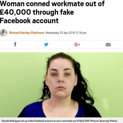 【海外発!Breaking News】男性に成りすましFacebookで嘘のがん治療費を騙し取った女、詐欺罪で逮捕(英)