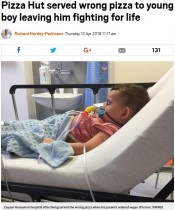 【海外発!Breaking News】ピザハットが注文を間違え、アレルギー疾患の2歳児がショック症状に(英)