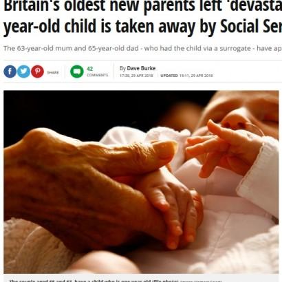【海外発!Breaking News】60代夫婦、代理出産で授かった1歳児を児童福祉スタッフに奪われる(英)