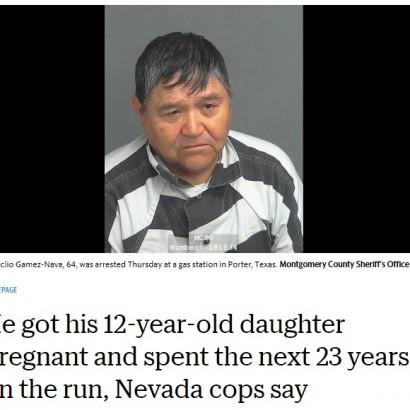 【海外発!Breaking News】12歳娘を妊娠させ逃亡した実父、23年後やっと御用に(米)