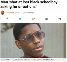【海外発!Breaking News】道を尋ねただけの14歳黒人少年、家主に銃弾を放たれる(米)