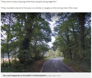 事故が起こったカーブ(画像は『Mirror 2018年4月10日付「Man accidentally ran over and killed wife during countryside motorbike ride to celebrate her recovery from cancer」(Image: Western Mail)』のスクリーンショット)