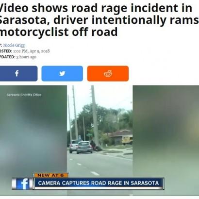 【海外発!Breaking News】急な進路変更でバイクを跳ね飛ばす 米フロリダで悪意に満ちた事故<動画あり>