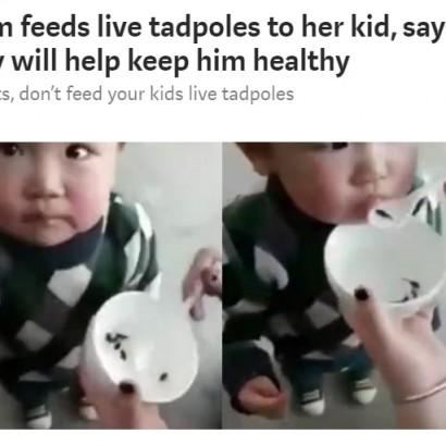 【海外発!Breaking News】丈夫な体になあれ!? 幼児に生きたオタマジャクシを与える中国農村部の親たち
