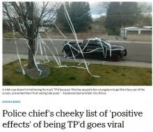 【海外発!Breaking News】愛車をトイレットペーパーでグルグル巻きにされた警察署長「若い子はこれくらい元気な方がいい」(米)