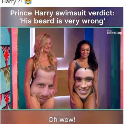 【海外発!Breaking News】ヘンリー王子&メーガンさんの顔がプリントされた水着に騒然(英)
