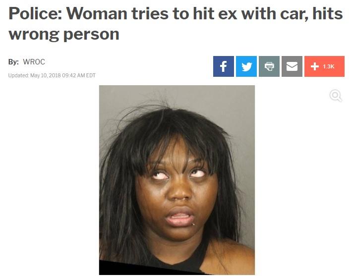 「元カレにどうしても逆襲したかった」と女(画像は『WIVB/WNLO-TV 2018年5月10日付「Police: Woman tries to hit ex with car, hits wrong person」』のスクリーンショット)