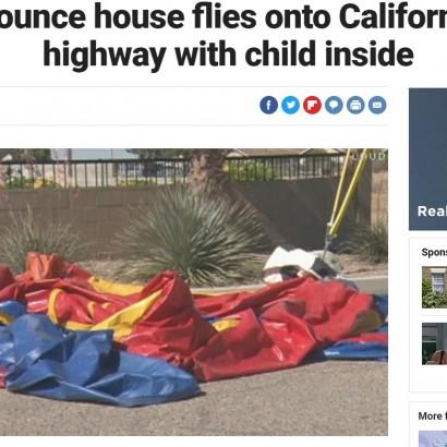 【海外発!Breaking News】強風でエアー遊具、子供もろとも吹き上げられ高速道路に落下(米)