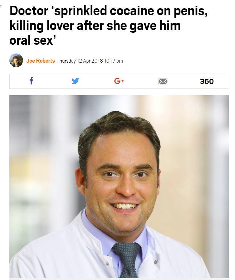 ドイツの医師、ペニスに大量のコカインを塗って女性を死なせる(画像は『Metro 2018年4月12日付「Doctor 'sprinkled cocaine on penis, killing lover after she gave him oral sex'」』のスクリーンショット)