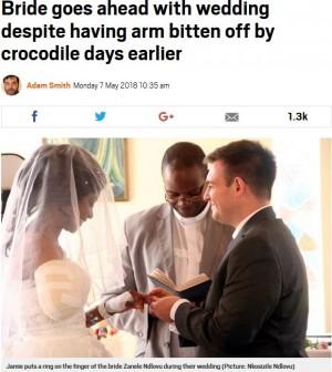 【海外発!Breaking News】ワニに腕を食いちぎられた女性 5日後に予定通り花嫁に(ジンバブエ)