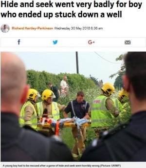 """【海外発!Breaking News】""""かくれんぼ""""がとんだ騒動に 井戸に落ちた9歳男児を20人がかりで救出(英)"""