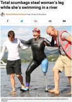 【海外発!Breaking News】片脚のスイマー、川で水泳中に義足を盗まれる(英)