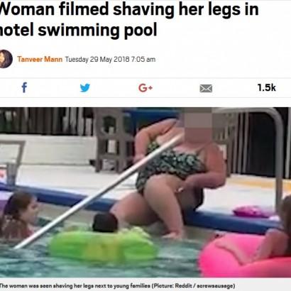 【海外発!Breaking News】リゾートホテルのプールで脚のムダ毛処理! 女性の映像に非難殺到(米)
