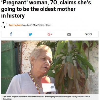 【海外発!Breaking News】70歳で第8子を妊娠中 メキシコの女性、高齢者出産で世界記録となるか