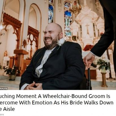 【海外発!Breaking News】車椅子の花婿、ヴァージンロードを歩く花嫁の姿に感涙(カナダ)<動画あり>