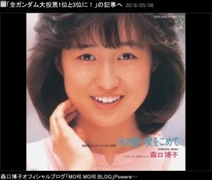 森口博子のデビューシングル『水の星へ愛をこめて』(画像は『森口博子 2018年5月8日付オフィシャルブログ「全ガンダム大投票1位と3位に!」』のスクリーンショット)