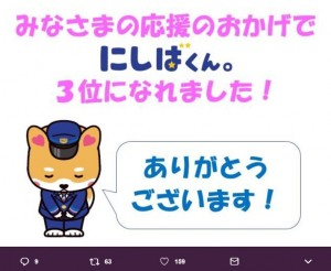 にしばくん。が『第2回バスキャラ選手権』で3位入賞(画像は『西日本JRバス【公式】にしばくん。3D化検討委員会 2018年5月15日付Twitter「バスキャラ選手権!!おかげさまで3位に入れました」』のスクリーンショット)