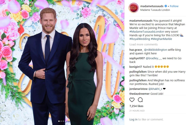 「激似!」と評判のヘンリー王子&メーガンさん(画像は『Madame Tussauds London 2018年5月9日付Instagram「You guessed it alright!」』のスクリーンショット)