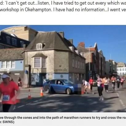 【海外発!Breaking News】マラソン最中の道路に無理やり侵入 女性ドライバーに非難殺到(英)<動画あり>