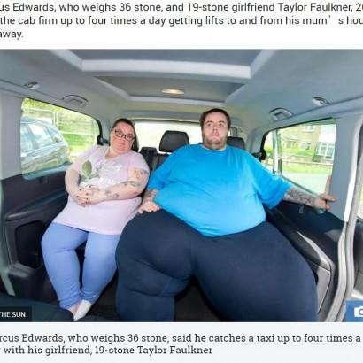 【海外発!Breaking News】総体重350キロのカップル タクシー会社から「今後の利用はお断り」(英)