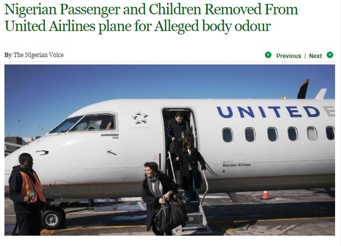 子連れのナイジェリア人女性、強制降機に激怒(画像は『The Nigerian Voice 2018年5月14日付「Nigerian Passenger and Children Removed From United Airlines plane for Alleged body odour」』のスクリーンショット)