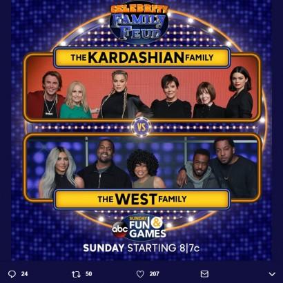 【イタすぎるセレブ達】カーダシアン&ジェンナー家、ウェスト家とクイズ番組で対戦 クロエとキムのディスり合いも!