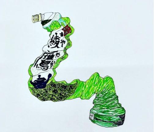 「独特な世界観」のジュニアのイラスト(画像は『千原ジュニア 2018年6月11日付Instagram「#左手 #ああやあたあかあああああ~」』のスクリーンショット)