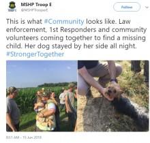 【海外発!Breaking News】行方不明の3歳児 飼い犬に守られ12時間後に無事保護(米)