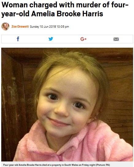 母親に火をつけられて亡くなった4歳女児(画像は『Metro 2018年6月10日付「Woman charged with murder of four-year-old Amelia Brooke Harris」(Picture: PA)』のスクリーンショット)