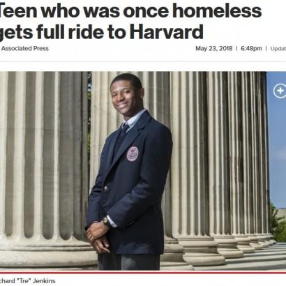 【海外発!Breaking News】ホームレス生活やいじめを乗り越え、ハーバード大入学を手にした18歳少年(米)