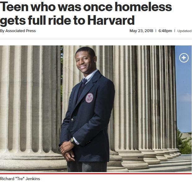 将来の道が開けたジェンキンスさん(画像は『New York Post 2018年5月23日付「Teen who was once homeless gets full ride to Harvard」(AP)』のスクリーンショット)