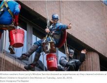 【海外発!Breaking News】「子供たちに勇気と元気を!」窓清掃員がスーパーヒーローに変身(米)<動画あり>