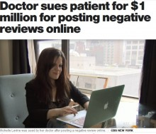 【海外発!Breaking News】オンラインレビューに最低評価をした患者、婦人科医に名誉棄損で訴えられる(米)