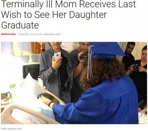 【海外発!Breaking News】末期がんの母の願いを叶えるため 病室で卒業式を行った娘(米)