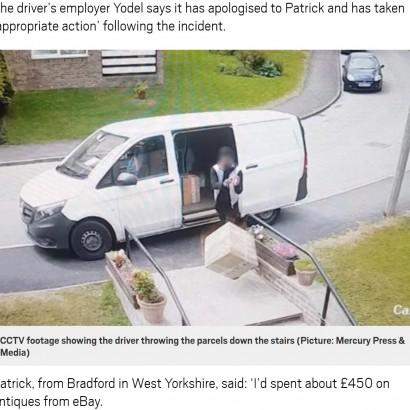 【海外発!Breaking News】磁器や陶器が入った箱を放り投げる悪質宅配ドライバー(英)