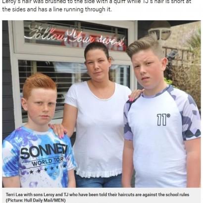 """【海外発!Breaking News】髪型が原因でクラスから追い出された息子の母 """"人権侵害""""と怒り(英)"""