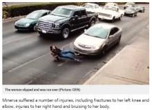 【海外発!Breaking News】道路を横切ろうとしたハイヒール姿の女性 恐怖の瞬間をカメラが捉える(メキシコ)