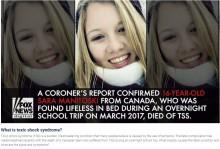 【海外発!Breaking News】タンポンの長時間使用で16歳少女が死亡 学校の旅行中に(カナダ)