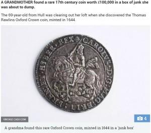 【海外発!Breaking News】1,500万円相当の硬貨を発見! 69歳おばあちゃんがガラクタ整理中に(英)