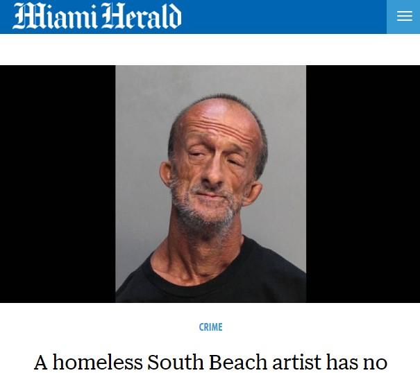 足に握ったハサミで観光客を刺したホームレス(画像は『Miami Herald 2018年7月11日付「A homeless South Beach artist has no arms. But he stabbed a tourist, police say」(Miami-Dade Corrections)』のスクリーンショット)