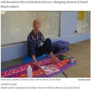ストリート・アーティストとして活躍していたジョナサン(画像は『Miami New Times 2011年1月12日付「Art on the Street: Jonathan Dale Crenshaw」(Camille Lamb)』のスクリーンショット)