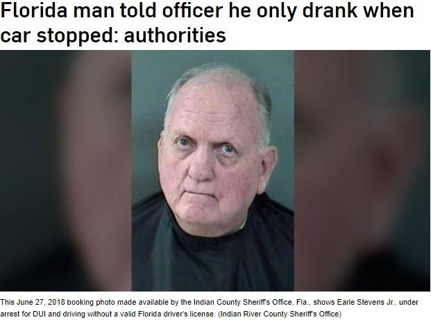 「運転中に酒は飲んでいない」と主張した男(画像は『CTV News 2018年7月12日付「Florida man told officer he only drank when car stopped: authorities」(Indian River County Sheriff's Office)』のスクリーンショット)