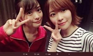 北原里英と指原莉乃(画像は『指原莉乃 2018年7月19日付Twitter「新・幕末純情伝を観に行ってきました!りえちゃん、本当にすごかった。。」』のスクリーンショット)