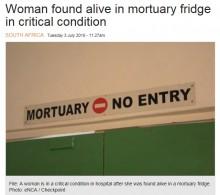 【海外発!Breaking News】事故死扱いで遺体安置所に搬送された女性、息を吹き返す(南ア)