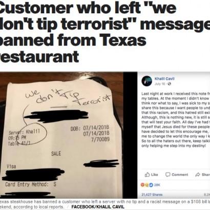 【海外発!Breaking News】「テロリストにチップは払わない」ウェイターの名前で差別した客を入店禁止に(米)