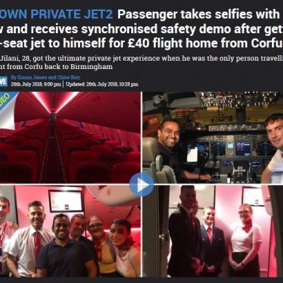 【海外発!Breaking News】168席の機内で乗客わずか1人! 英LCCでVIP気分を満喫した男性