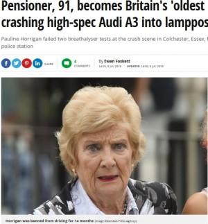【海外発!Breaking News】91歳の飲酒ドライバー、法廷で「もう車は運転しません」(英)
