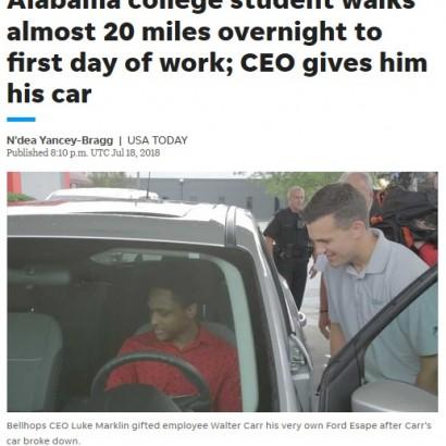【海外発!Breaking News】初出勤で32kmの距離を歩く決意をした青年にCEO、車をプレゼント(米)<動画あり>