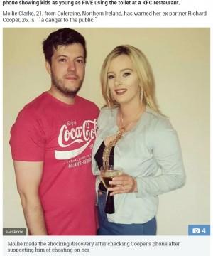 【海外発!Breaking News】KFCのトイレで盗撮していた夫を妻が通報(北アイルランド)